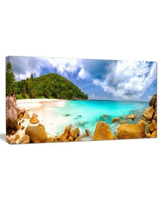"""DesignArt 'Seychelles Beach Panorama' Photographic Print on Wrapped Canvas PT9442- Size: 16"""" H x 32"""" W x 1"""" D"""