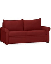 PB Deluxe Upholstered Sleeper Sofa, Polyester Wrapped Cushions, Twill Sierra Red