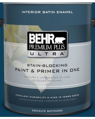 BEHR Premium Plus Ultra 1 gal. #ecc-53-3 Outer Space Satin Enamel Interior Paint and Primer in One