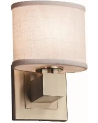 Justice Design Group Textile 9 Inch Wall Sconce - FAB-8707-30-WHTE-NCKL-LED1-700