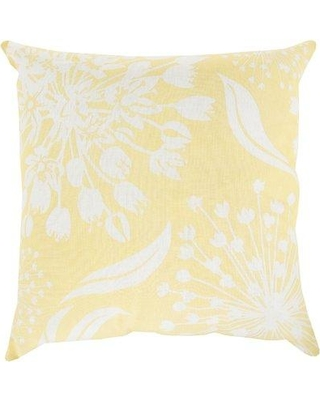 "Ophelia & Co. Zak Linen Throw Pillow OPCO4332 Color: Butter/Ivory Size: 20"" x 20"" Fill Material: Polyester"
