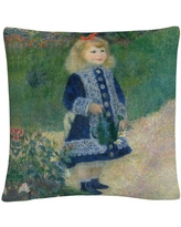 Pierre Renoir 'A Girl With A Watering Can' 16 X 16 Decorative Throw Pillow