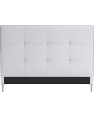 Brooklyn Headboard Only, Queen, Perennials Performance Canvas, White, Polished Nickel