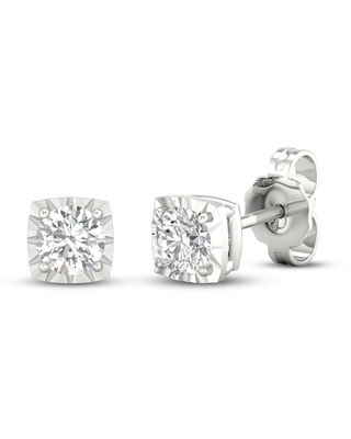 Diamond Solitaire Stud Earrings 1/4 ct tw Round-cut 10K White Gold