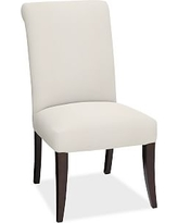 PB Comfort Dining Roll Arm Upholstered Side Chair, Denim Warm White