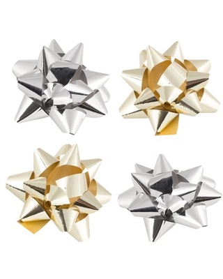JAM Gift Bows, Gold & Silver, 9/Pack, Super Tiny, 1 In Diameter