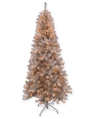 Puleo International 6.5-Foot Tinsel Pre-Lit Christmas Tree in Rose Gold with Clear Lights