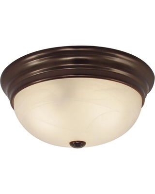 Volume Lighting 11 in. W x 4.50 in. H 2-Light Indoor Antique Bronze Flush Mount Ceiling Fixture with White Alabaster Glass Bowl