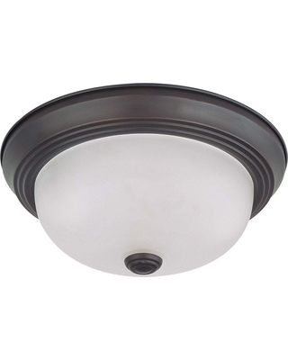 Glomar 2-Light Mahogany Bronze Flush Mount with Frosted White Glass