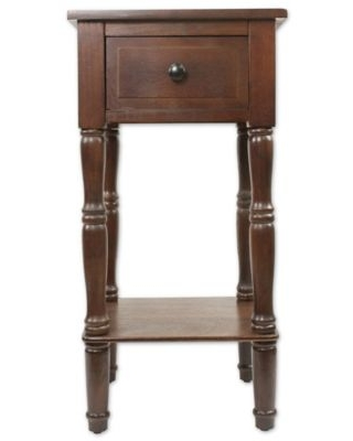 Decor Therapy Simplify 1-Drawer Square Accent Table in Walnut