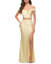 La Femme Sequin Satin Off the Shoulder Two-Piece Gown, Size 6 in Pale Yellow at Nordstrom