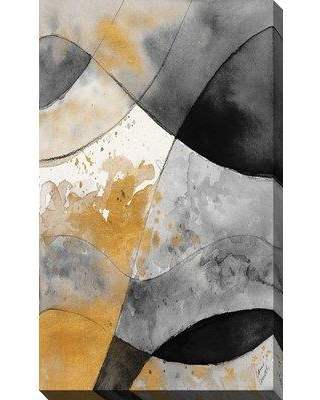 "Ebern Designs 'Gray and Gold Fantasy II' Acrylic Painting Print on Canvas BF163667 Size: 30"" H x 18"" W x 1"" D"