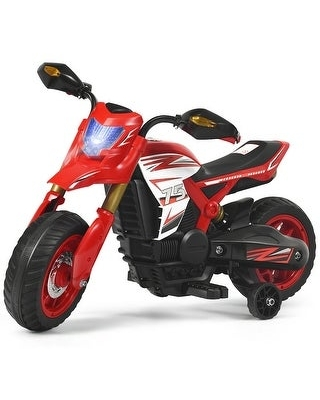 6V Electric Kids Ride-On Battery Motorcycle with Training Wheels -Red - Red (Assembly Required - Kids)
