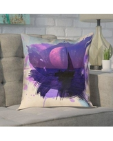 """Brayden Studio Houck Contemporary Watercolor Moon and Sailboat Square Pillow Cover BYST3687 Size: 16"""" H x 16"""" W"""
