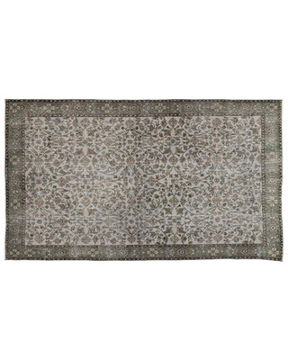 """One-of-a-Kind Hand-Knotted 5'8"""" x 9'11"""" Wool Gray Area Rug"""