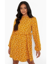 Womens Ditsy Floral Long Sleeve Smock Dress - Yellow - 14