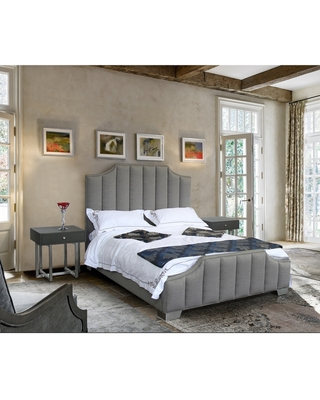Camelot Queen Platform Bed with Polished Stainless Steel and Grey Fabric