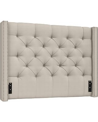 Harper Upholstered Tufted Low Headboard with Bronze Nailheads, California King, Brushed Crossweave Natural