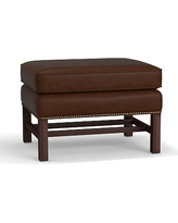 Thatcher Leather Ottoman, Polyester Wrapped Cushions, Leather Legacy Chocolate