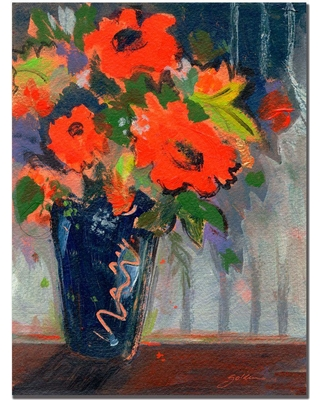 Trademark Fine Art 18 in. x 24 in. Striped Wall with Red Flowers Canvas Art, Multi