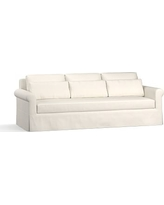 "York Roll Arm Slipcovered Deep Seat Grand Sofa 98"" with Bench Cushion, Down Blend Wrapped Cushions, Performance Heathered Tweed Ivory"