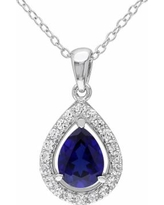 """Stella Grace Lab-Created Blue Sapphire & Lab-Created White Sapphire Sterling Silver Teardrop Halo Pendant Necklace, Women's, Size: 18"""""""