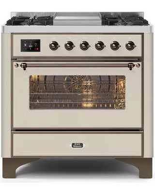 """UM09FDNS3AWB 36"""" Majestic II Series Dual Fuel Natural Gas Range with 6 Burners and Griddle 3.5 cu. ft. Oven Capacity TFT Oven Control Display"""