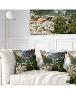 Designart 'Sunset Over High Mountains' Landscape Printed Throw Pillow (Square - 16 in. x 16 in. - Small)
