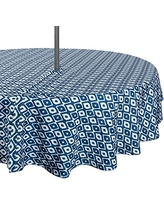 """DII 100% Polyester, Spill proof, Machine Washable, Zipper Tablecloth for Outdoor Use With Umbrella Covered Tables, 52"""" Round, Blue Ikat, Seats 4 People"""