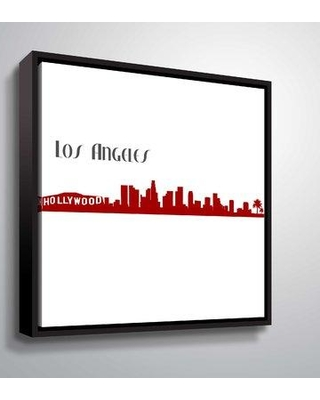 """East Urban Home 'Los Angeles Skyine Scissor Q' Graphic Art Print on Wrapped Canvas BI044384 Size: 10"""" H x 10"""" W x 2"""" D Format: Floater Frame"""