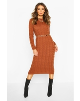 Womens Cable Knit Midi Dress - Brown - S