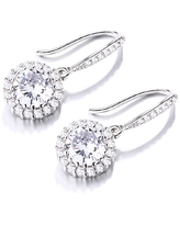 Amy and Annette Women's Earrings Silver - Sterling Silver Studded Halo Drop Earrings With Swarovski Crystal