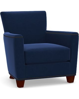 Irving Square Arm Upholstered Armchair with Bronze Nailheads, Polyester Wrapped Cushions, Performance Everydayvelvet(TM) Navy