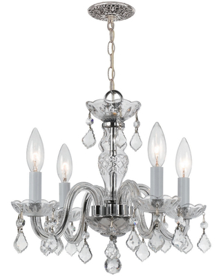 Crystorama Traditional Crystal 4-Light 12 inch Mini Chandelier in Polished Chrome with Clear Swarovski Strass Crystals