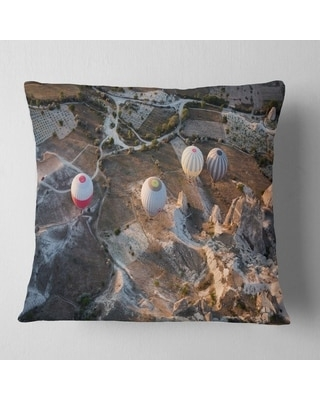 Designart 'Flight with Balloons at Sunrise' Landscape Printed Throw Pillow (Square - 16 in. x 16 in. - Small)