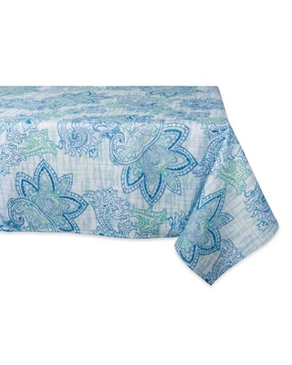 DII Blue Watercolor Paisley Print Outdoor Tablecloth