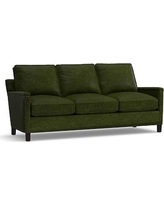 Tyler Leather Sofa with Bronze Nailheads, Down Blend Wrapped Cushions, Leather Legacy Forest Green