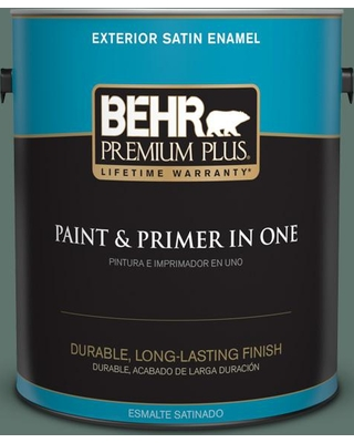 Find The Best Deals On Behr Premium Plus 1 Gal Ppu12 17 Cameroon Green Satin Enamel Exterior Paint And Primer In One
