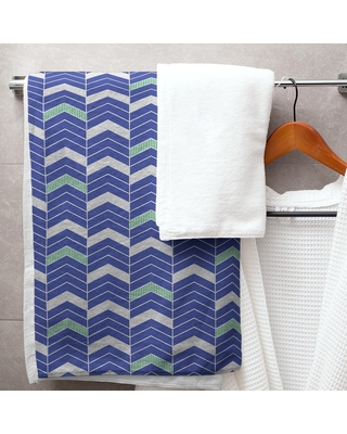 Two Color Lined Chevrons Bath Towel - 30 x 60 (Cotton - Green & Gray)
