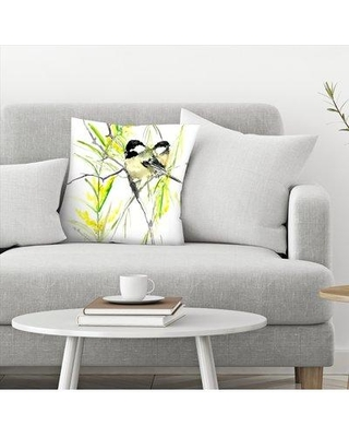 "East Urban Home Suren Nersisyan Chickadees in Spring Throw Pillow EBIB9738 Size: 20"" x 20"""