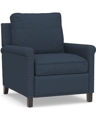 Tyler Roll Arm Upholstered Recliner with Bronze Nailheads, Down Blend Wrapped Cushions, Brushed Crossweave Navy
