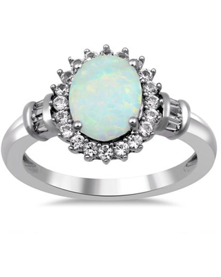 Womens Lab-Created Opal & Lab-Created White Sapphire Sterling Silver Cocktail Ring, 7