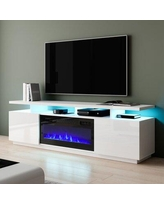"""Orren Ellis Burkard TV Stand for TVs up to 78"""" w/ Electric Fireplace Included Wood in White, Size 23.0 H x 71.0 W x 15.75 D in 