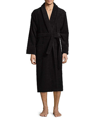 Stafford French Terry Robe, One Size Fits Most , Black