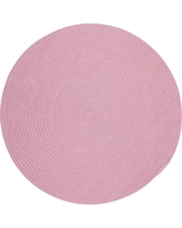 Joy Braids Solid Pink 4 ft. x 4 ft. Round Indoor/Outdoor Braided Area Rug