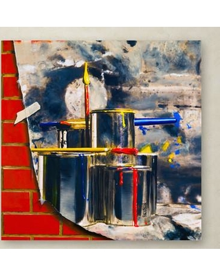"""Trademark Art """"Primary Colors 02"""" by Roderick Stevens Painting Print on Wrapped Canvas RS891-C Size: 14"""" H x 14"""" W x 2"""" D"""