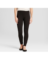 Women's Solid Ponte Jeggings - A New Day Black S