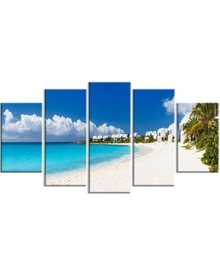 Design Art 'Caribbean Beach Panorama' 5 Piece Photographic Print on Wrapped Canvas Set PT6430-373