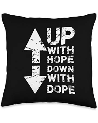 JESUS CHRIST Anti Drug I Christian Faith I Up With Hope Down With Dope Throw Pillow, 16x16, Multicolor