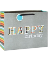 Gift Bag Happy Birthday Letters On Gray - Spritz, Multi-Colored